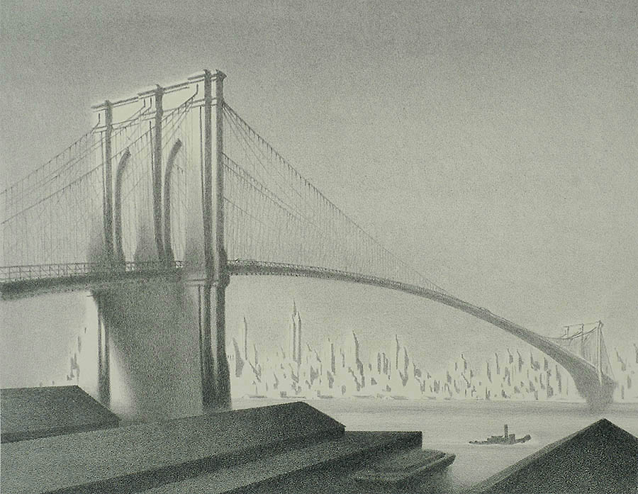 Brooklyn Bridge - ELLISON HOOVER - lithograph