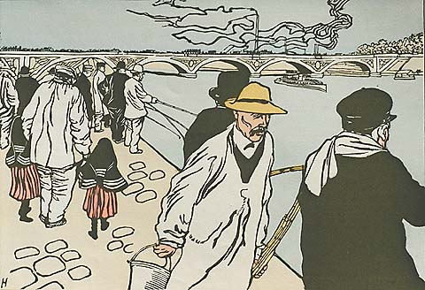 Pecheurs a la Ligne - CHARLES  HUARD - woodcut printed in colors