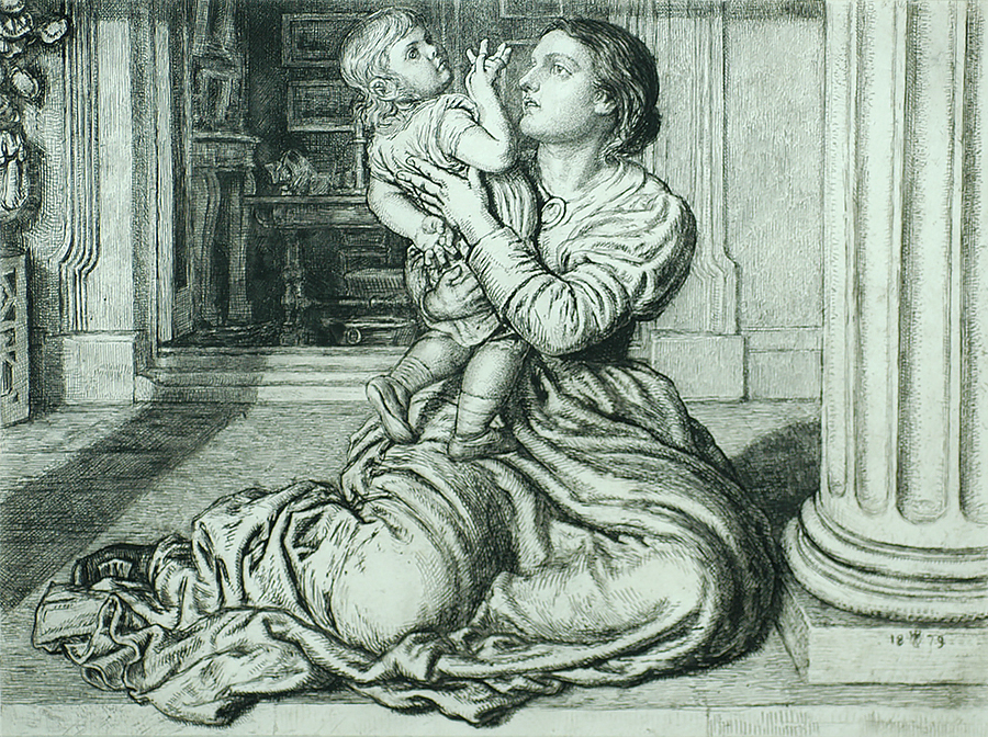 The Father's Leave-Taking - WILLIAM HOLMAN HUNT - etching