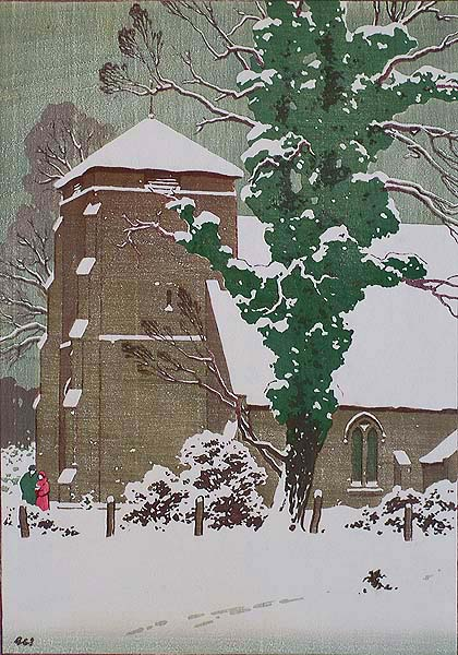The Church Tower - GEORGE S. INGLES - woodcut printed in colors