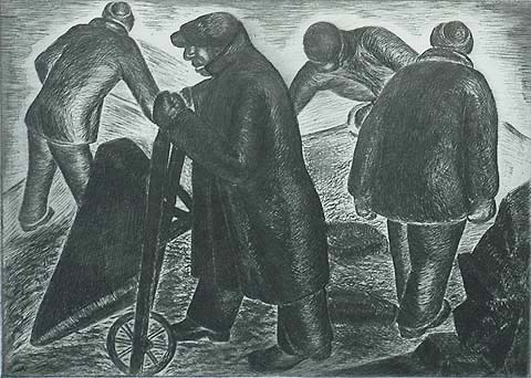 W.P.A. Workers - ABRAHAM JACOBS - etching