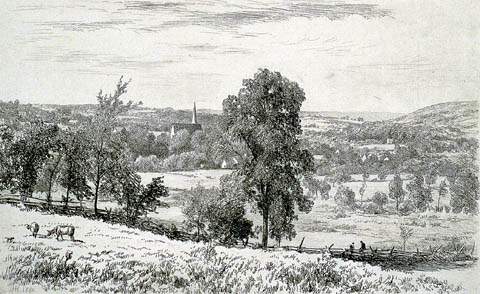 New England Landscape - JOHN HENRY HILL - etching