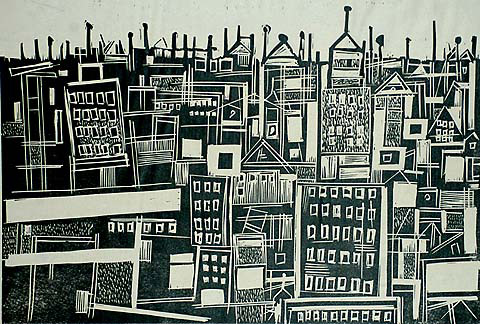 Manhattan - HENRY KALLEM - woodcut
