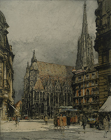 Vienna, St. Stephen's - LUIGI  KASIMIR - etching and aquatint printed in colors