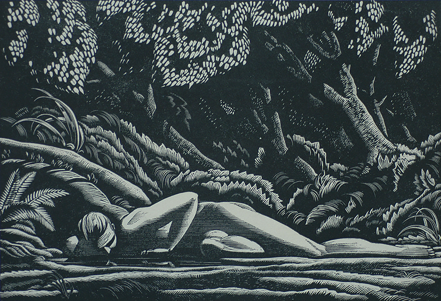Forest Pool - ROCKWELL KENT - wood engraving