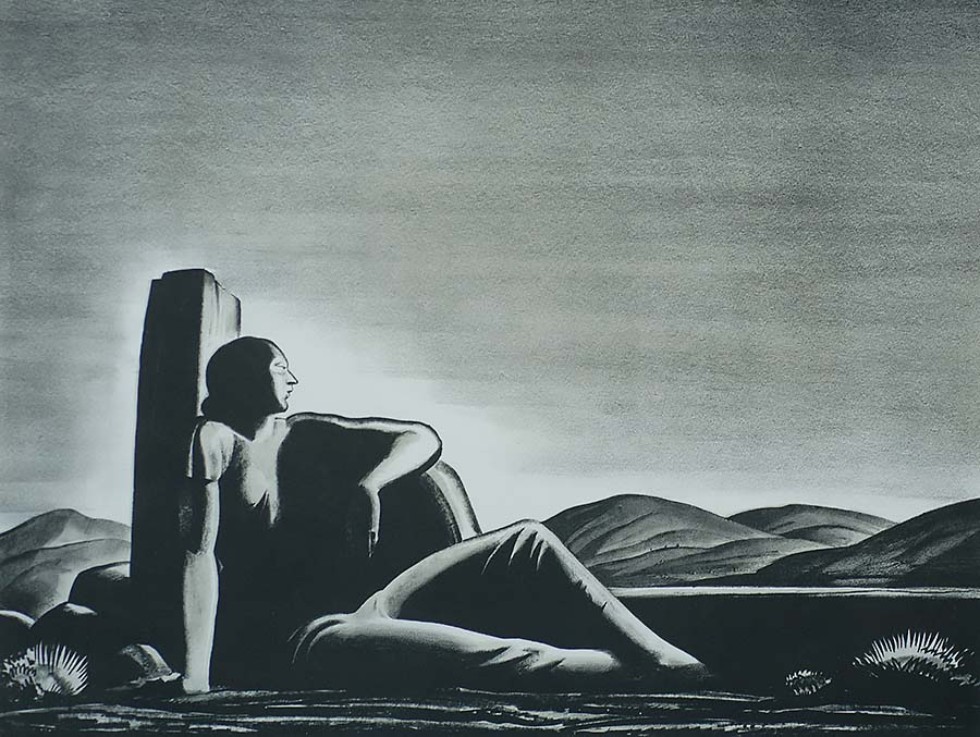 Memory - ROCKWELL KENT - lithograph printed with two stones; black and grey