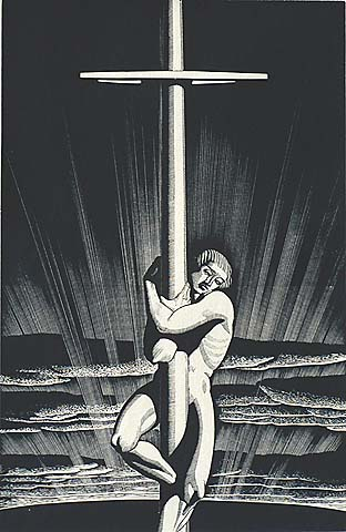 Sea and Sky - ROCKWELL KENT - wood engraving on maple