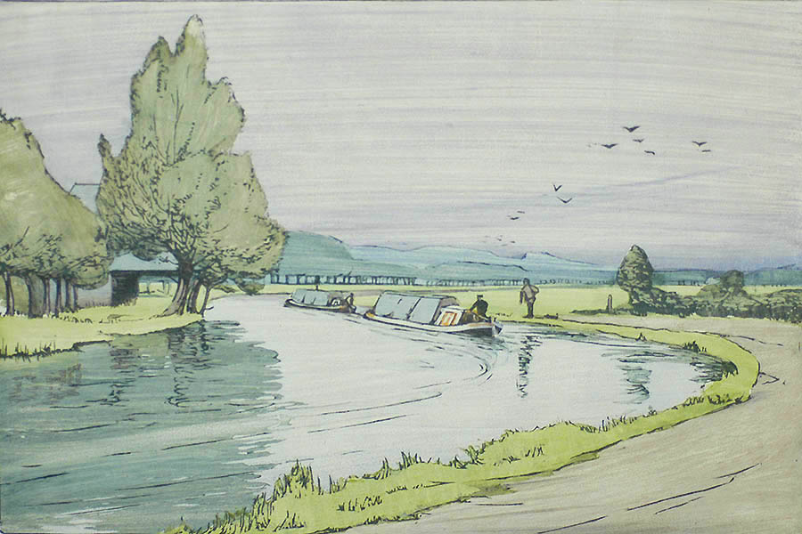 The Canal - ETHEL KIRKPATRICK - woodcut printed in colors