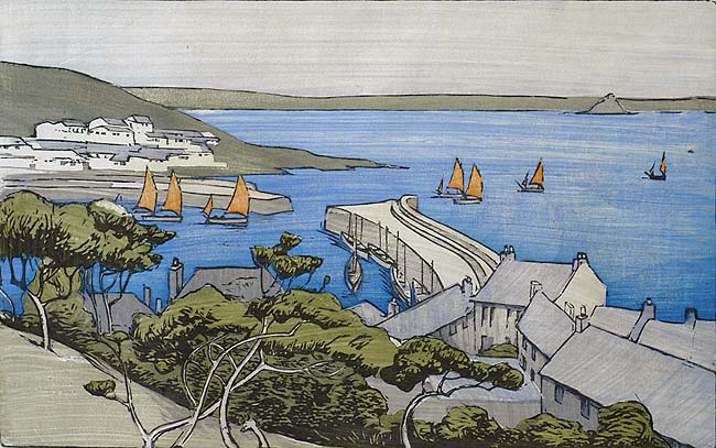 Coastal Harbor with Sailboats - ETHEL KIRKPATRICK - woodcut printed in colors