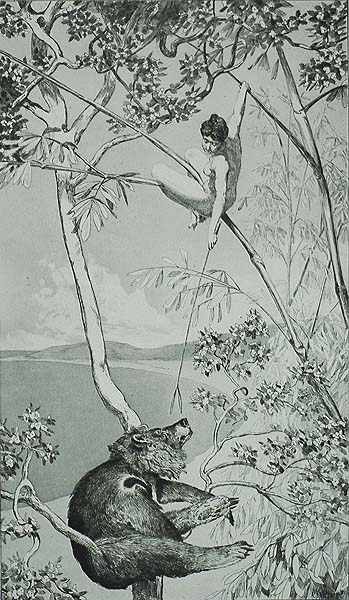 Bear and Pixie (Bar und Elfe) - MAX KLINGER - etching and aquatint