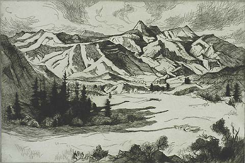 Rocky Mountain Valley - GENE KLOSS - etching