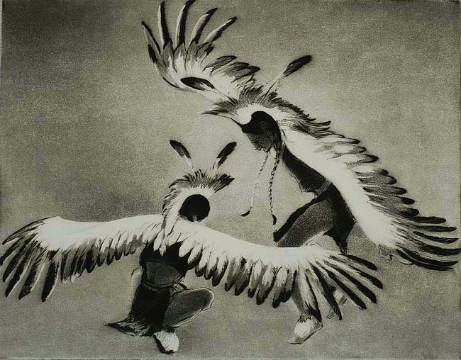 Taos Eagle Dancers - GENE KLOSS - aquatint with drypoint