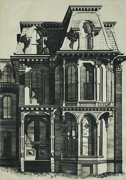 Saratoga Springs Victorian - LAWRENCE KUPFERMAN - drypoint