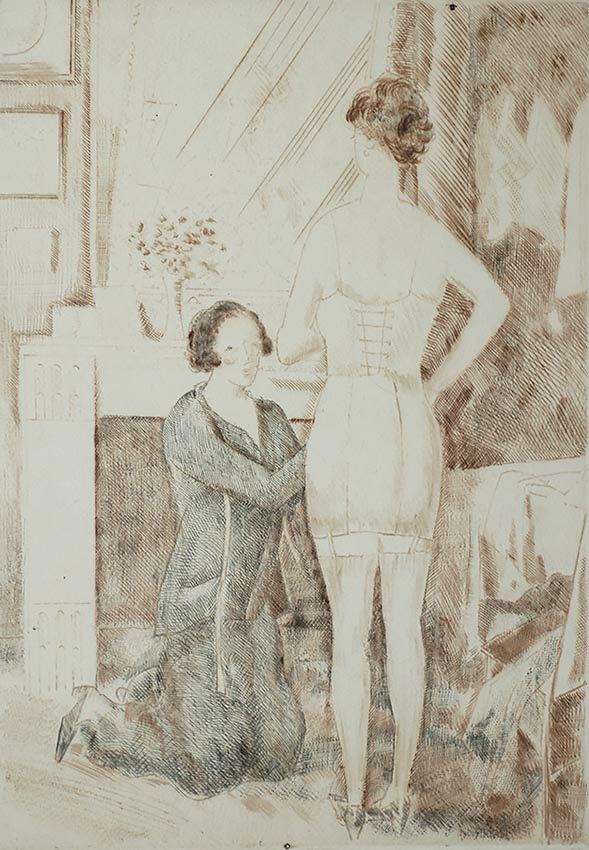 Chez la Corsetière (At the Corsetmaker) - JEAN-EMILE LABOUREUR - drypoint and roulette printed from two plates