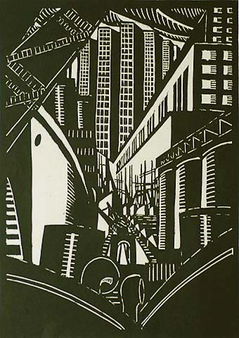 Modernist City View (Antwerp?) - ALEX LALLEMAND - woodcut