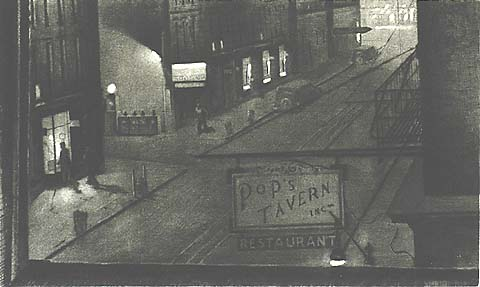 Pop's Tavern - ARMIN LANDECK - drypoint and aquatint