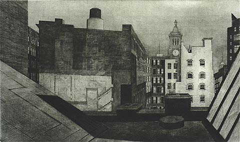 Rooftop, 14th Street - ARMIN LANDECK - drypoint and engraving