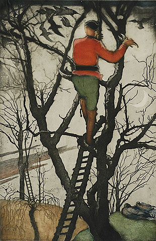 Man Pruning  - MAURICE LANGASKENS - etching and aquatint printed in colors