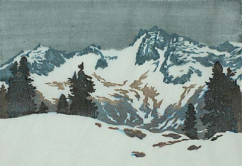 Grey Day - ENGLEBERT LAP - woodcut printed in colors on thin Japanese paper