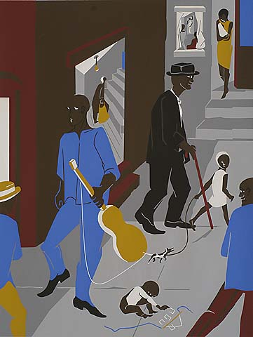 People in Other Rooms (Harlem Street Scene) - JACOB LAWRENCE - screenprint