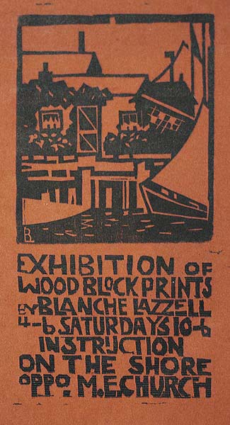 Exhibition Announcement - BLANCHE LAZZELL - woodcut printed in colors