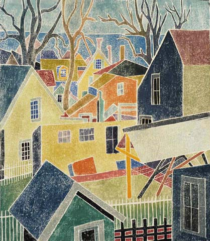 Backyards, Provincetown - BLANCHE LAZZELL - white-line color woodcut