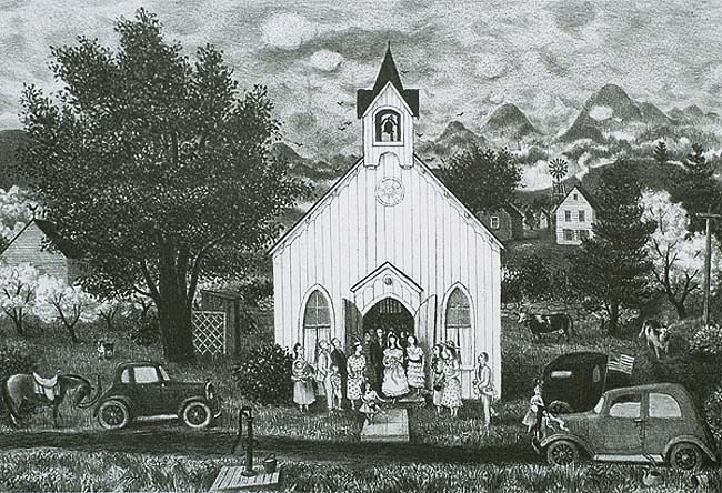 Country Wedding - DORIS LEE - lithograph