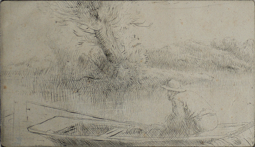 Sur la Tamise (On the Thames) - ALPHONSE LEGROS - drypoint