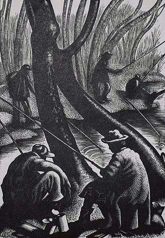 Fishing in the Creek - CLARE LEIGHTON - wood engraving