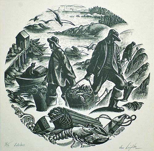 Lobsters - CLARE LEIGHTON - wood engraving