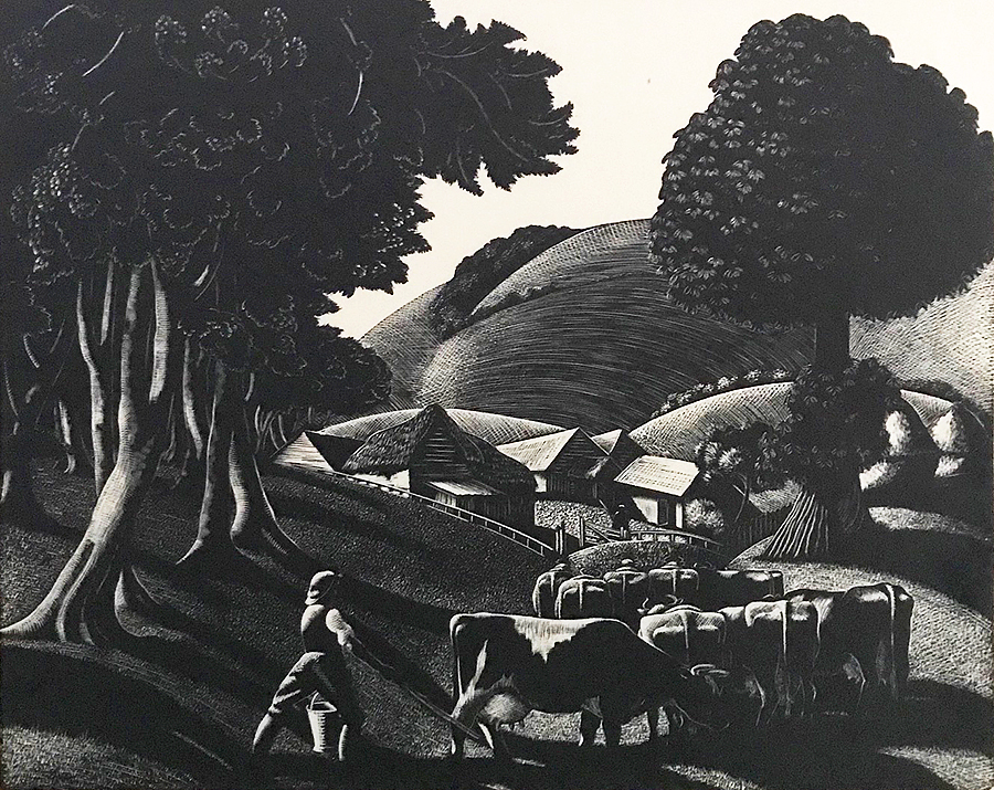 To the Milking:  July - CLARE LEIGHTON - wood engraving