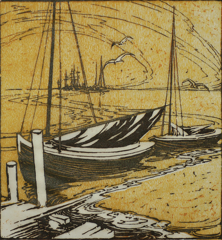 Waiting for the Breeze - PEDRO JOSEPH DE LEMOS - woodcut printed in colors