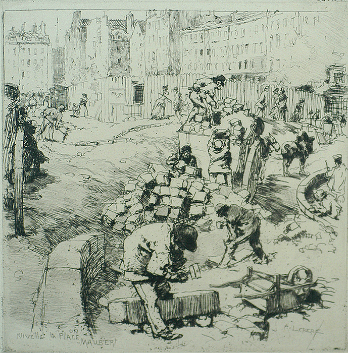 Leveling of La Place Maubert (Nivellement de la Place Maubert) - AUGUSTE LEPERE - etching