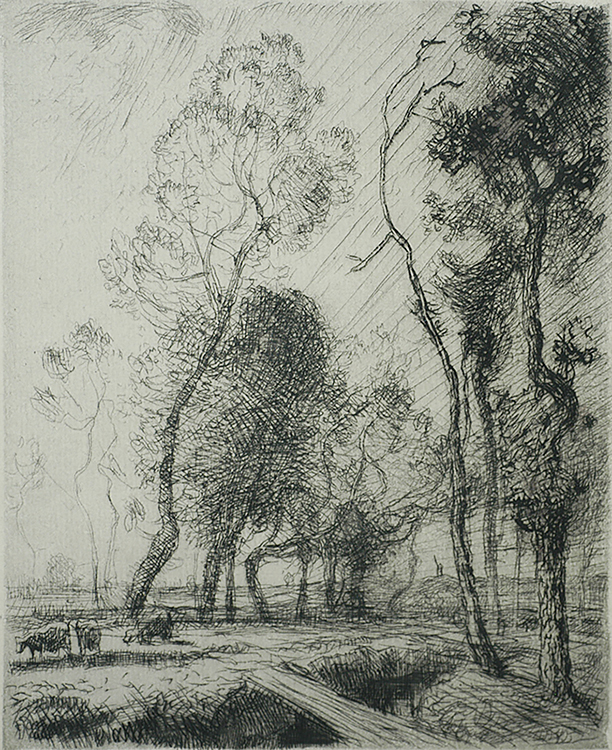 The Sun setting from Behind the Trees (Coucher de Soleil derrière les Arbes) - AUGUSTE LEPERE - etching
