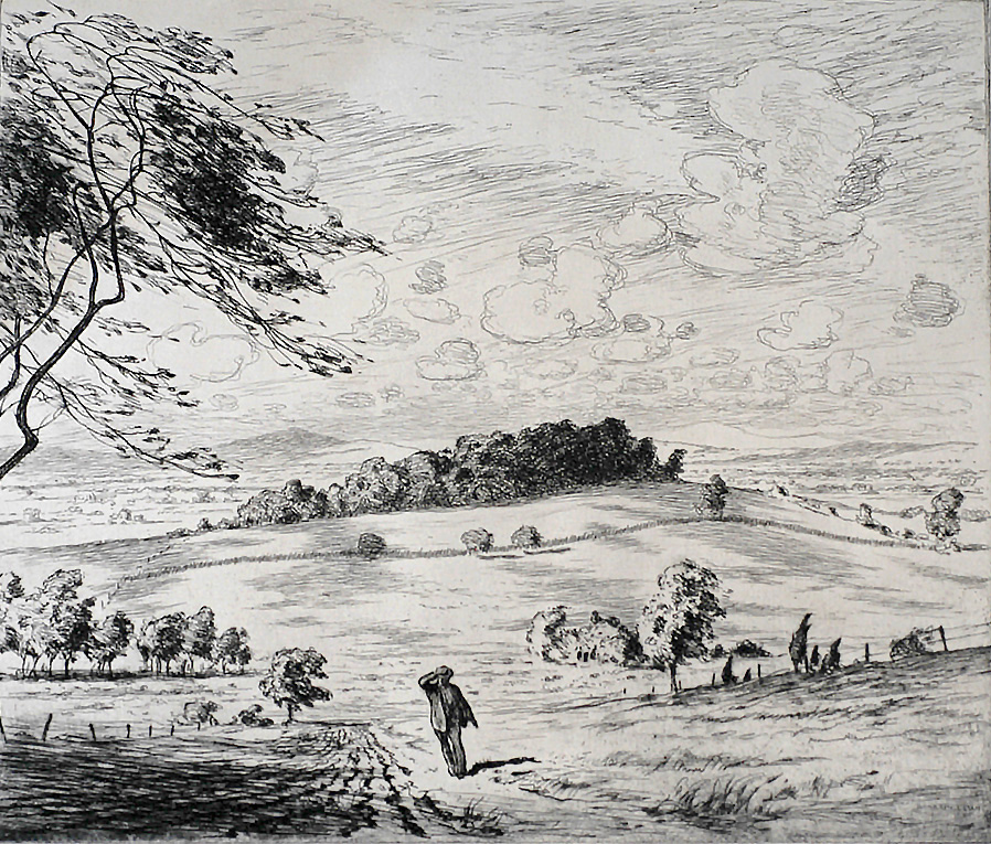 Country Scene with Man Walking - MARTIN LEWIS - etching and drypoint