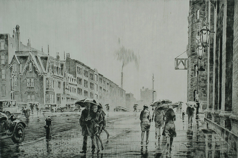 Rain on Murray Hill - MARTIN LEWIS - drypoint