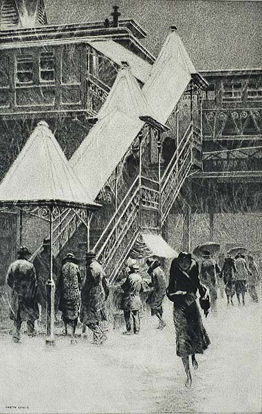 Snow on the El - MARTIN LEWIS - drypoint and sand ground