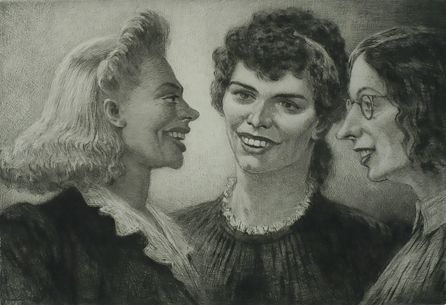 Three Girls Conversing - MARTIN LEWIS - etching with drypoint