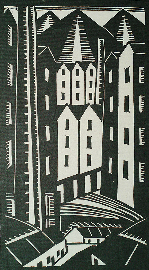 Modernist City Scene - ALEX LALLEMAND - linocut (or woodcut)
