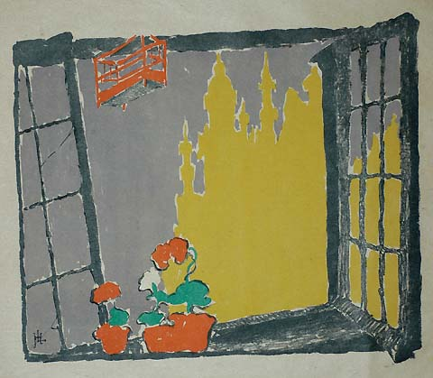View of Brussels from a Window - HENRI LOGELAIN - lithograph printed in colors