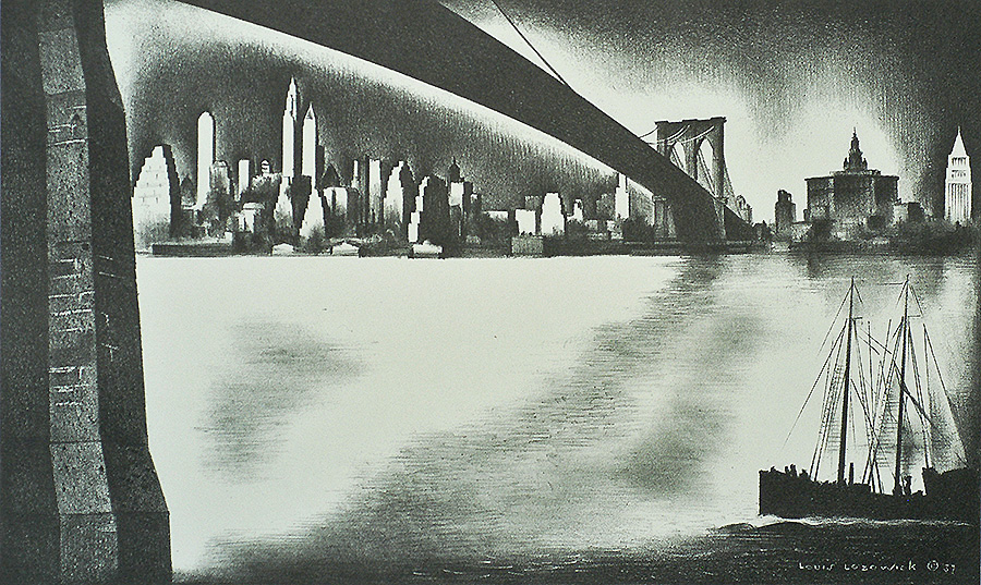 Distant Manhattan from Brooklyn - LOUIS LOZOWICK - lithograph