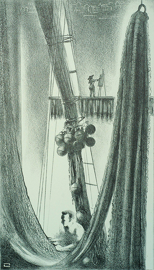 Mending Nets (Provincetown) - LOUIS LOZOWICK - lithograph