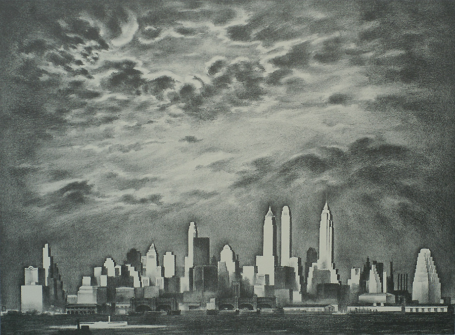 Storm over Manhattan - LOUIS LOZOWICK - lithograph