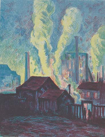 Hochofen - MAXIMILIEN LUCE - lithograph printed in colors on chine volant