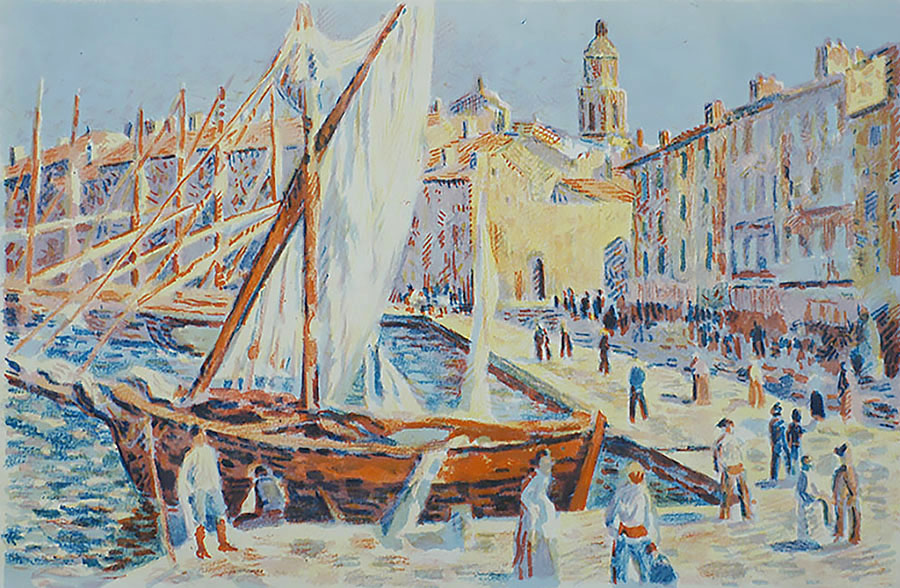 Le Port de St. Tropez - MAXIMILIEN LUCE - lithograph printed in colors