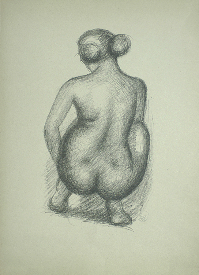 Woman Crouching from the Back (Femme Accroupie de Dos) - ARISTIDE MAILLOL - lithograph