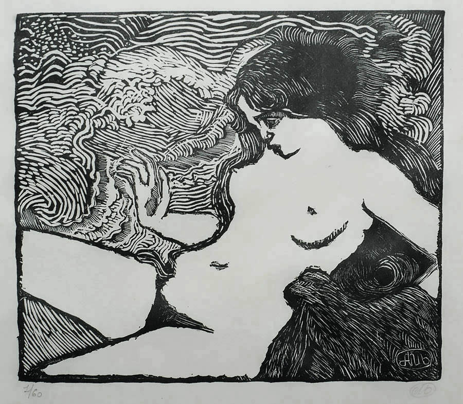 The Wave (La Vague) - ARISTIDE MAILLOL - woodcut