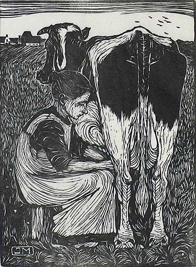 Woman Seated Facing Right, Milking a Cow  (Vrow Zittend naar Rechts, een koe Melkend) - JAN MANKES - woodcut