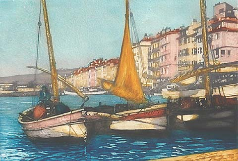 Fishing Boats  - GUSTAVE HENRI  MARCHETTI - etching and aquatint printed in colors