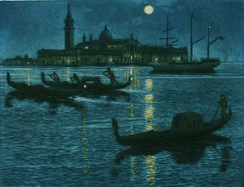 Venice at Night - FREDERICK MARRIOTT - etching and aquatint printed in colors